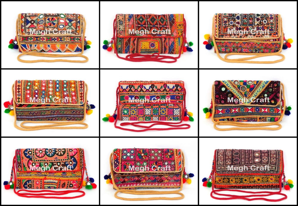 Gujarati Handwork clutch - Indian Embroidered Clutch Bag - Traditional Patchwork Clutch