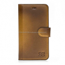 Handmade genuine leather mobile phone wallet case for iphone X