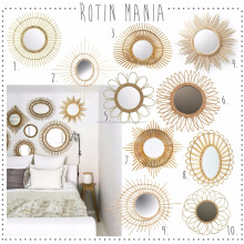 Vintage rattan mirrors for wall decor