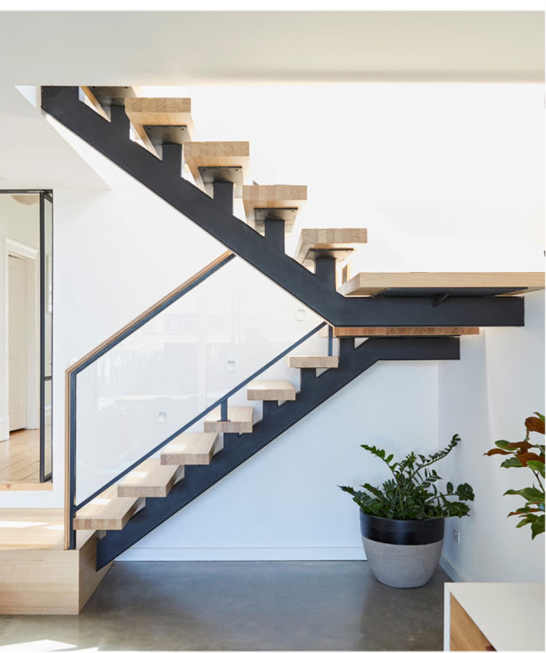 Foshan Factory Wrought Iron Staircase Handrail Design Indoor Wooden Stairs Steps