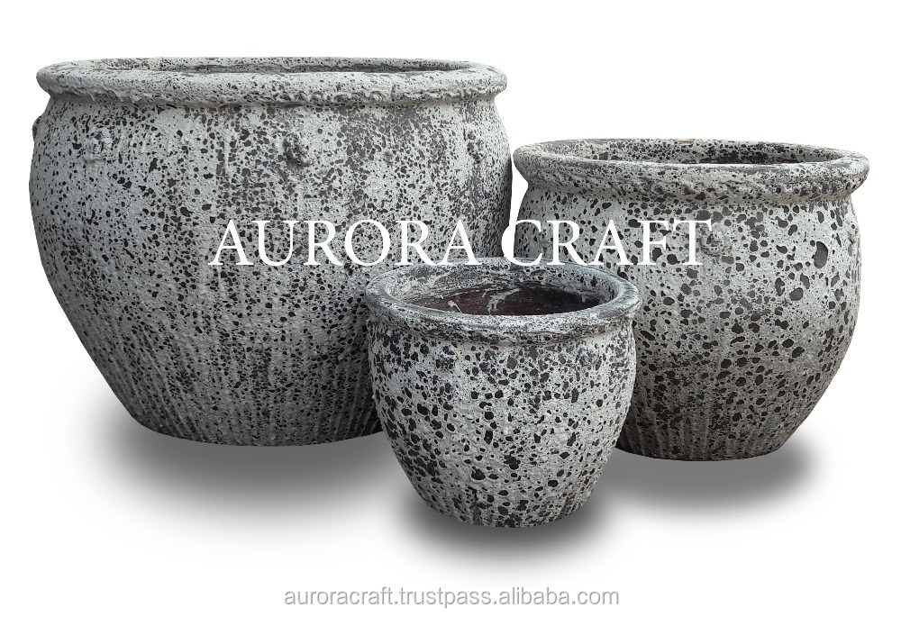 [Wholesale] Large Outdoor Sand Glazed Pottery - Old Stone Planter - Black Clay Planter