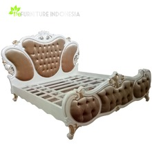 French Royal Classic Rococo BED with Solid Wood Material Bedroom Furniture