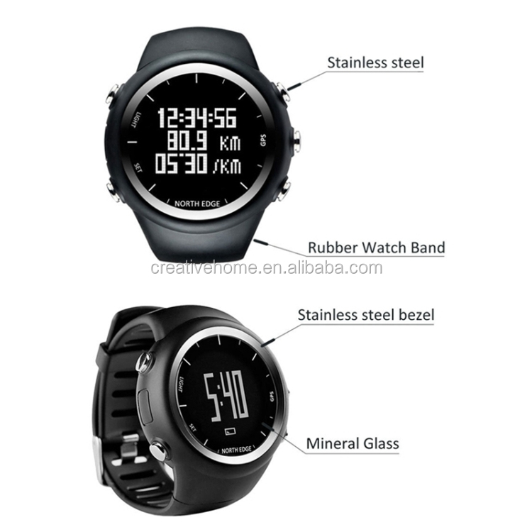 X-TREK North Edge Men Fashion Professional Outdoor Sport Waterproof Running Hiking Smart Digital Watch, Support GPS (Black)