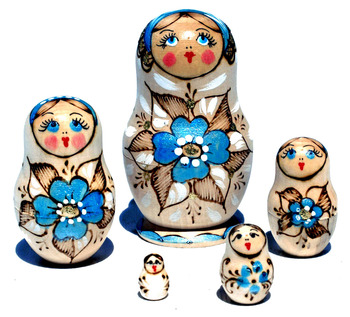 Wooden Nesting Dolls Russian Matryoshka Craft Skyblue Flower Style Pyrography For Sale Set 5 pc