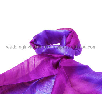 Thailand Handwoven Violet & Purple Raw Silk Shawl