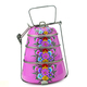 Customized artwork printing warm Stainless Steel 3-tier tiffin Lunch box enamel tiffin carrier food storage