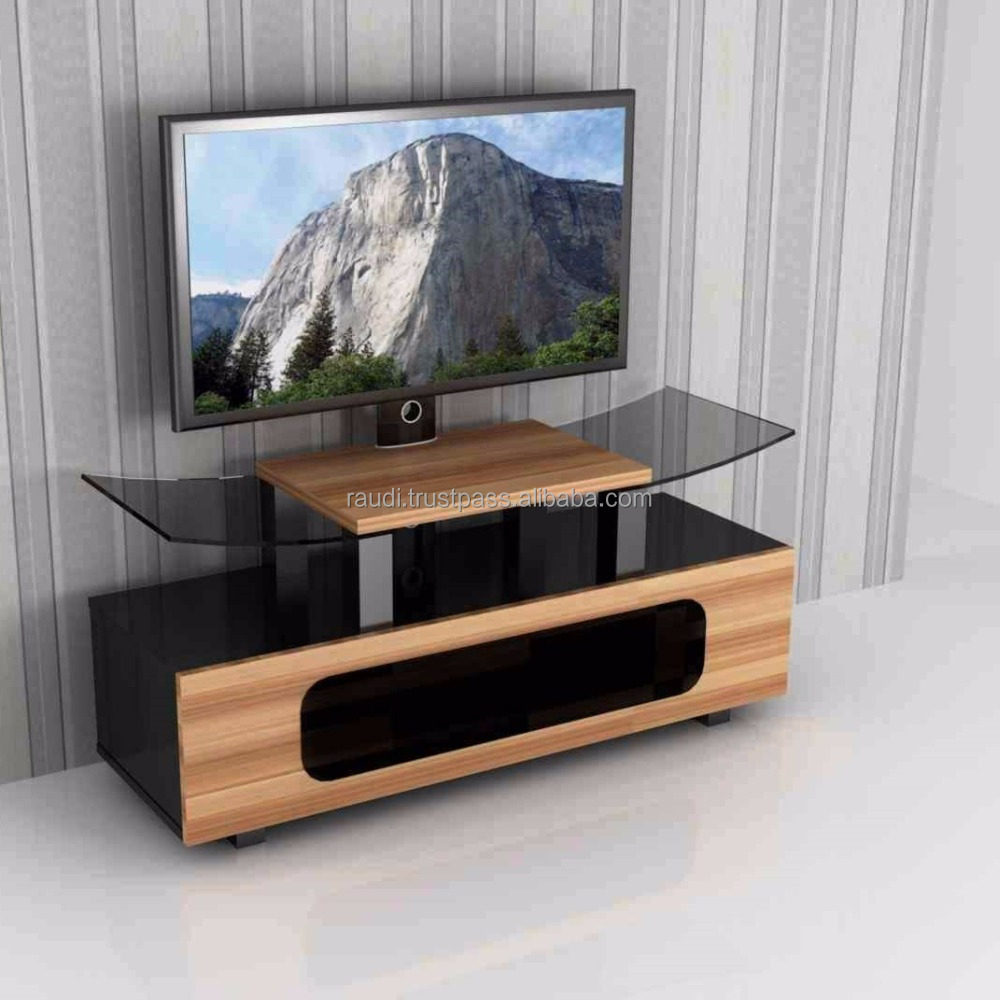 LED TV STAND with Curve Glass and Metal hanger