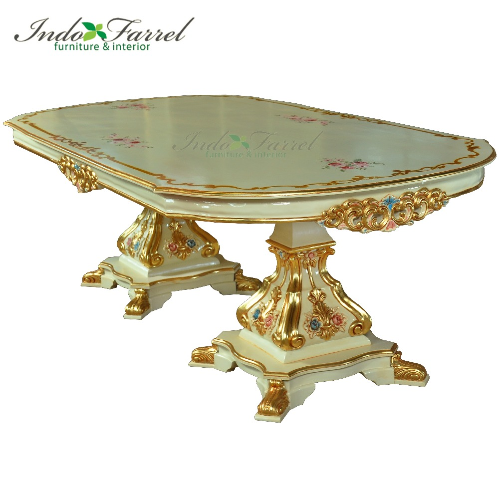 For Sale wooden Carved Oval dining table with top hand painting dining room Used Furniture