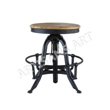 Industrial Adjustable Height Swiveling Stool, Beautiful Vintage Industrial Brushed Metal and Wood Stool