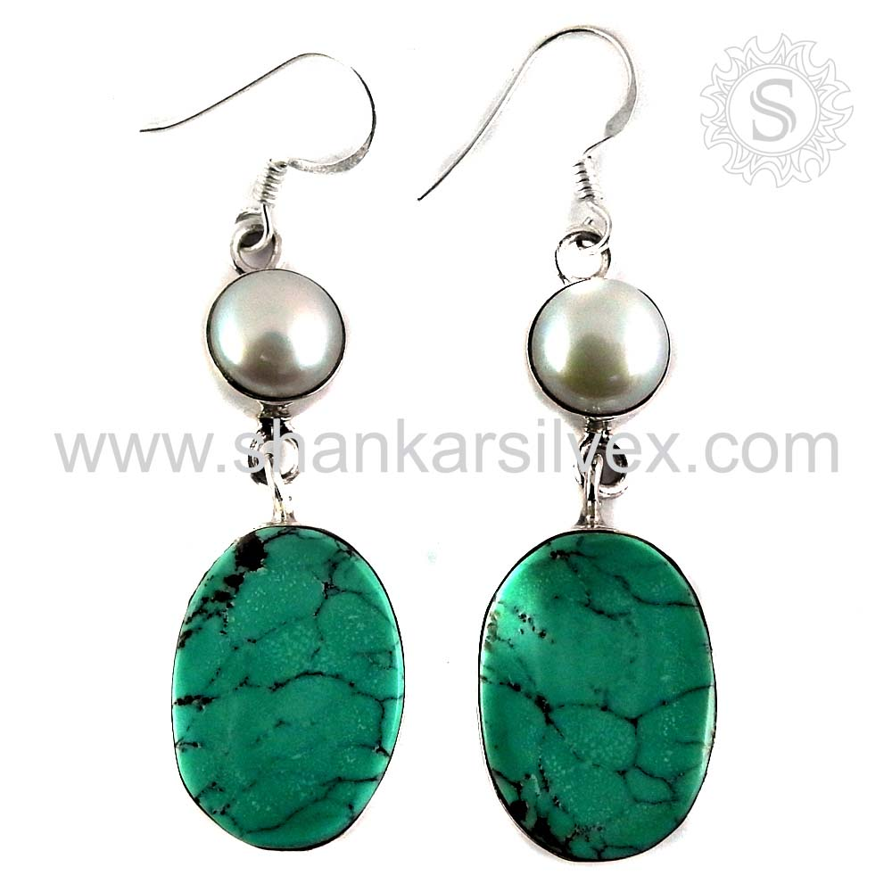 Girls fashionable pearl, turquoise silver earring 925 sterling silver gemstone earrings handmade jewelry exporters