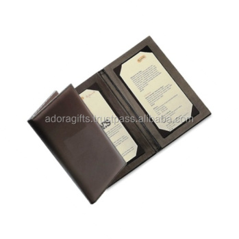 Black color Double fold leather menu cover