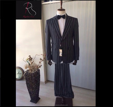 Hot Black High Quality New Product Stripe Patterned 2 Piece Coat Pant Men Suit