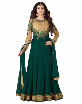 Party Wear Semi-Stitched Anarkali Style Suits Designs Dress Materials 2017 (anarkali dresses)