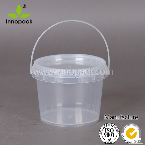 500ml small candy food grade transparent plastic bucket with handle with lid