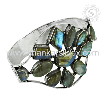 Exclusive silver bangle blue labradorite gemstone 925 sterling silver jewelry wholesale store