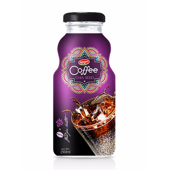 wholesale Glass bottle Vietnam Coffee with Fruit Juice Chia seed