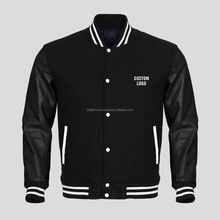 OEM Wholesale Custom Printed Black Leather Sleeves Black Wool Varsity Jacket at Factory Price for Importers, Wholesalers, Sports