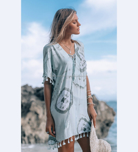 Unique Fantasy Designer Women's Beachwear Rayon Tie & Dye Kaftan Beach Cover Ups Poncho Caftan With Tussle