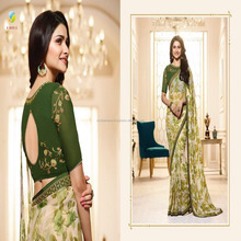 Green Color Georgette Embroidered Fancy Saree