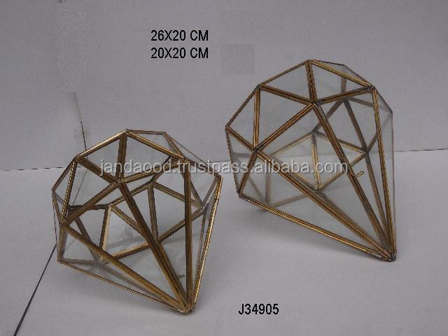 Indoor Glass terrarium Geometric designs container with metal sides in brass