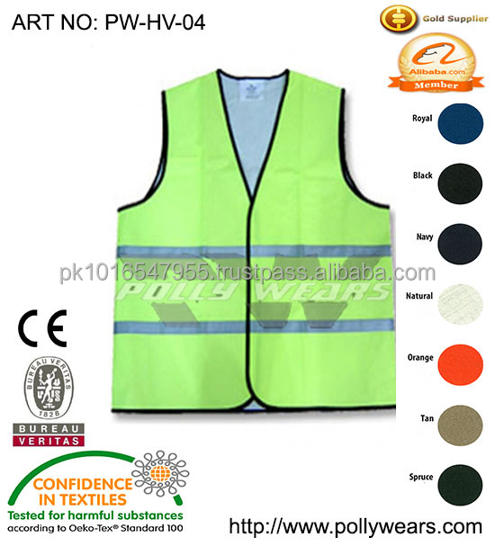 Safety hi vis Reflective Vest with fluorescent lime green vest