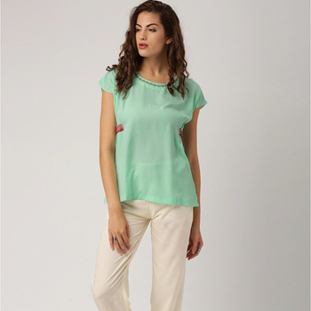 Ladies Blouses & Tops Boat Neck Printed Top with Elastic Detailing on the side Seams, Drop Shoulder Top Casual Woman Tops