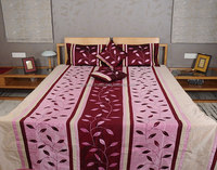 Wholesale Pink And Prune Red Leaves Printed Polydupion Ptachwork Bedspread