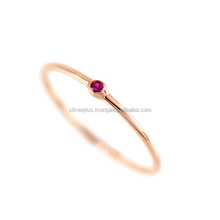 Genuine Ruby Gemstone Delicate Band Ring Solid 14k Yellow Gold Indian Handmade Jewelry