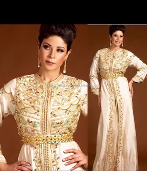 Cream Colour With Full Golden Hand Embroidery Fancy Moroccan Caftan 2017