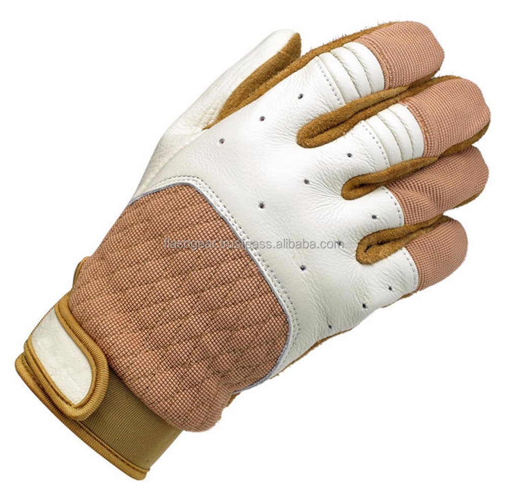 Flash Gear Brat Racer Gloves, Original Leather Relax-fit Glovs Street biker moto gloves, Chopper riding leather gloves Harley