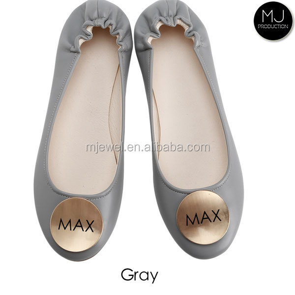 Wholesale PU leather monogrammed ballet flats