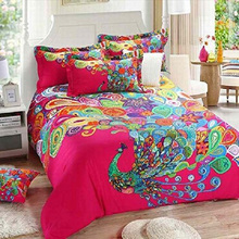 Indian Handmade Boho Style Bedding Sets 100% Cotton Printed Peacock Duvet Quilt Cover Set Full 4Pcs