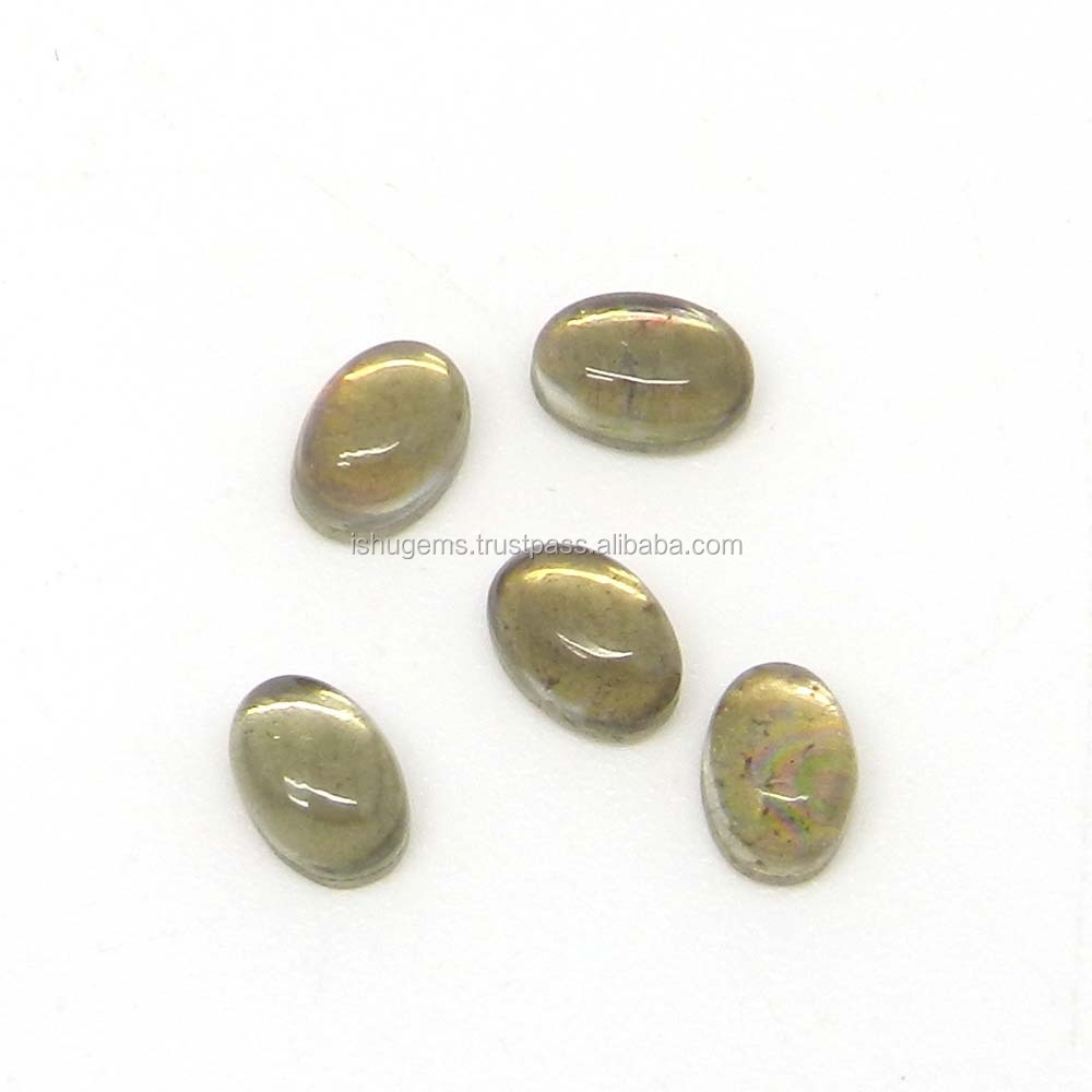 Natural green amethyst & pyrite doublet semi precious 8x6mm oval cabochon 0.78 cts loose gemstone for jewelry