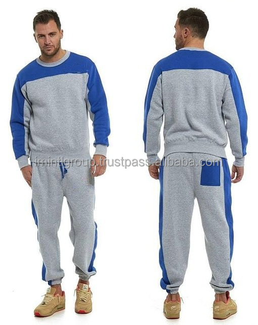Men gymwear fleece sweatsuit, sweatshirt top and trouser bottom IM.3510