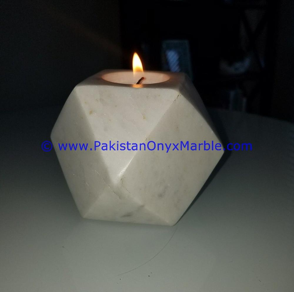 DECORATIVE MARBLE CANDLE HOLDERS DIAMOND GEOMETRIC SHAPED STANDS