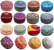 Mandala tapestry fabric large floor pillow pouffe covers indian ottoman pouf