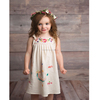 Baby Girls Pinafore Cute Dress with Multi Color Crewel Hand Embroidery Boho Look Cotton Shoulder Tie Sweet Little Toddler Dress