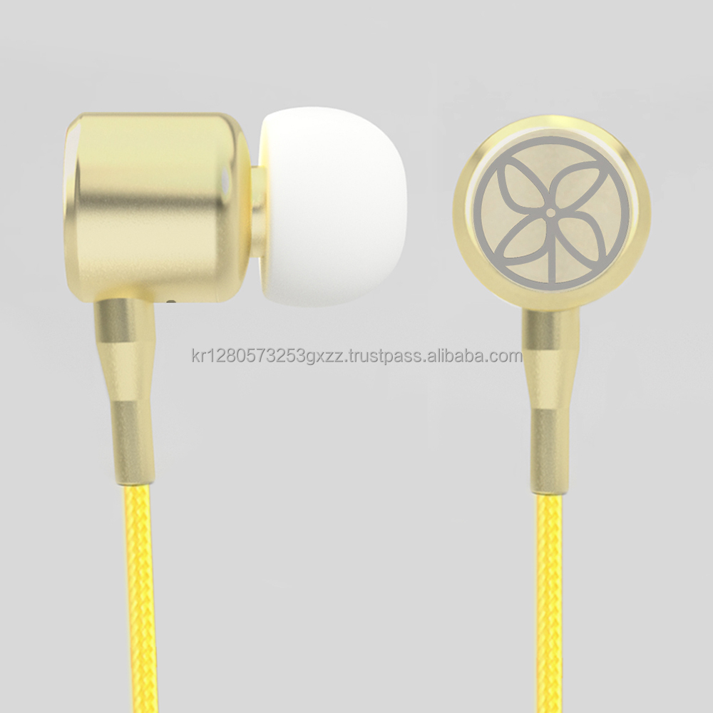 Best selling high quality cheep Metallic Earphone with fabric cable