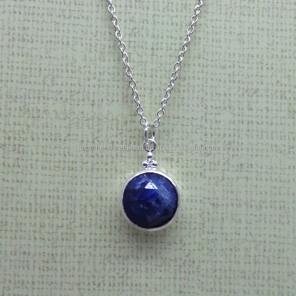 925 STERLING SILVER COLOR ENHANCE BLUE SAPPHIRE NECKLACE