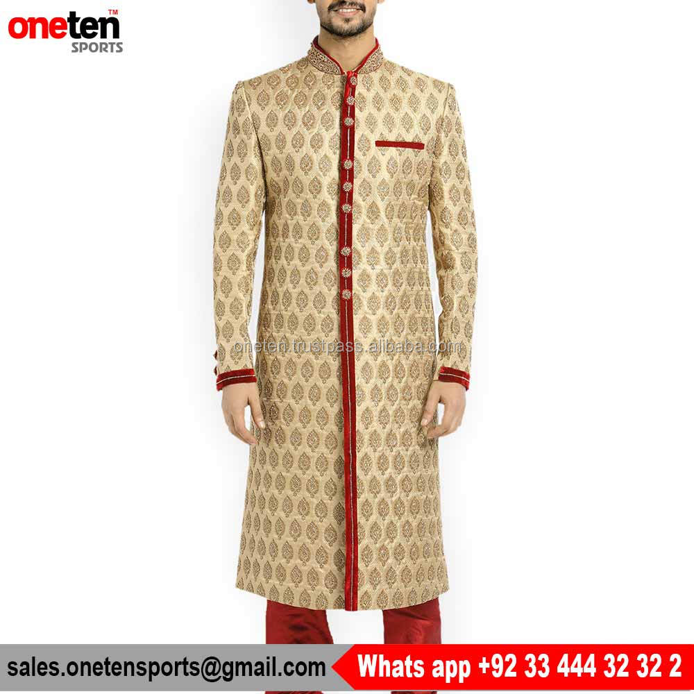 Pakisrani Off white and Red rib Kurta Sherwani for Men
