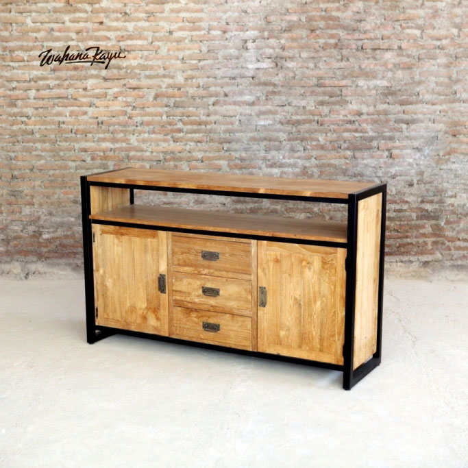 Solid Teak Wood Buffet Cabinet with Metal frame - Filing Cabinet Furniture