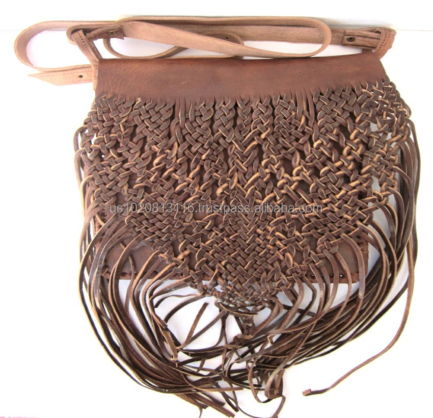 beautiful Handcrafted Genuine Leather Fringed Bag