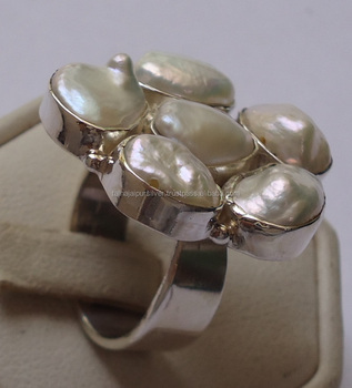 Natural stone handmade 925 sterling silver With 5 Pearl Rings