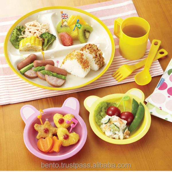 Japanese design kids plastic plate at wholesale price school lunch melamine platter