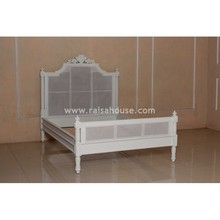 Indonesia French Furniture - French Flower Bed with Rattan Mahogany Furniture