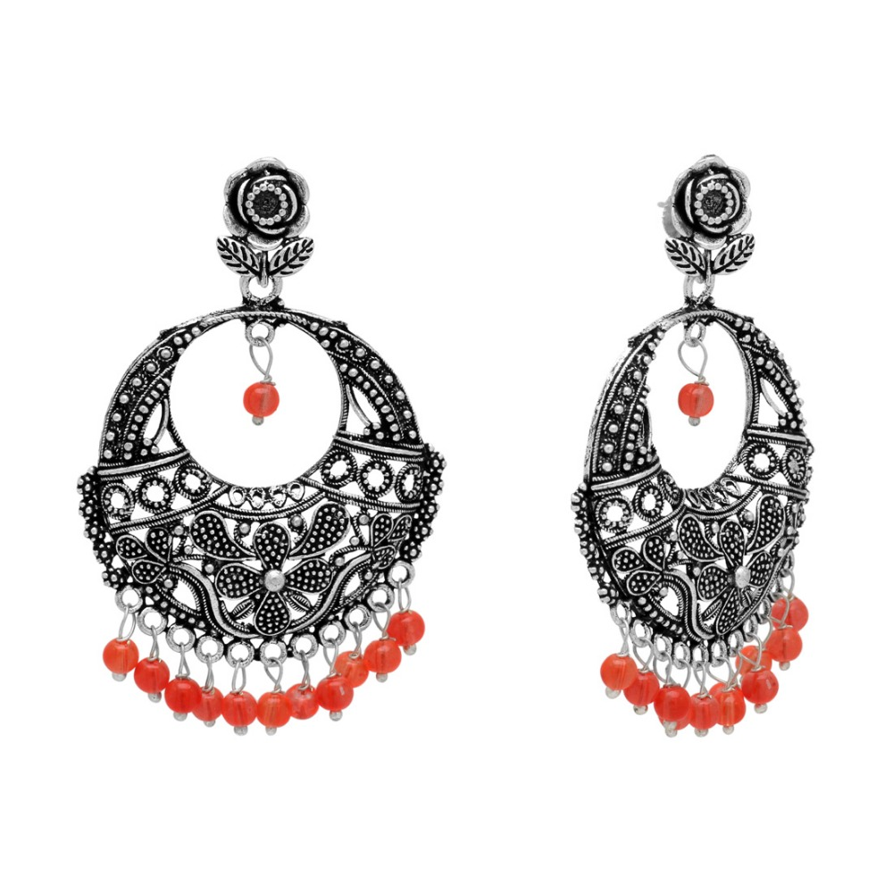 Orange Color Beads Oxidised Silver Plated Earrings Jewelry