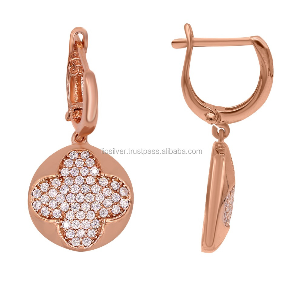 Sterling Silver Earring Rose Gold Zirconium Stones Wholesale Handcrafted Jewelry