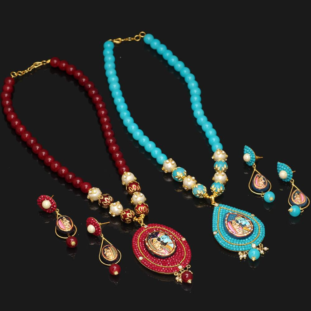 Jaipur Mart Gold Plated Maroon & Aqua Color Colored Glass Stone, Color Beads, Pearl Necklace With Earrings Combo Of 2 Pieces