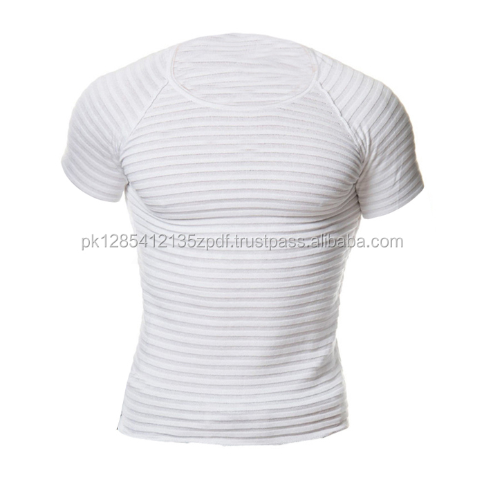 Men's Casual Short Sleeve Knit Stretchy Crew Neck Gym T Shirt