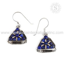 Latest design blue lapis gemstone earrings 925 sterling solid silver jewelry indian jewelry wholesaler